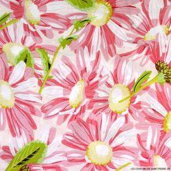 Coton imprimé tournesol fond rose