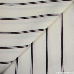Crêpe polyester fine rayures fond écru