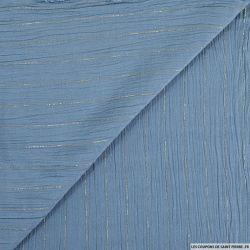 Crépon viscose rayures lurex bleu clair