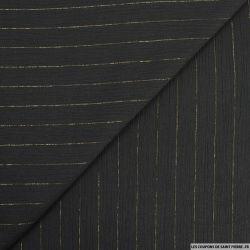 Crépon viscose rayures lurex noir