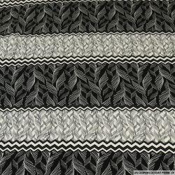 Microfibre polyester imprimée zig-zag de plume noir et blanc