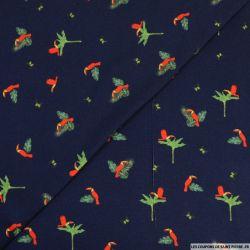 Jersey viscose marine imprimé toucan