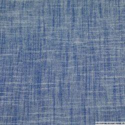 Etamine de coton contrecollé bleu chiné