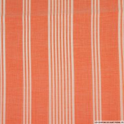Voile viscose rayé orange et blanc