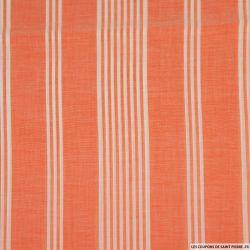 Voile viscose rayé orange et blanc