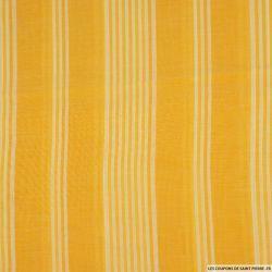 Voile viscose rayé jaune et blanc