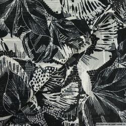 Crêpe bandes jacquard jungle en noir et blanc