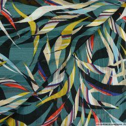 Crêpe bandes jacquard art tropicale multicolore