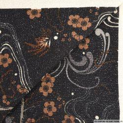 Maille lurex imprimé péripétie fond noir