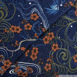 Maille lurex imprimé péripétie fond bleu