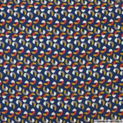 Satin polyester imprimé vintage fond bleu