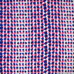 Crêpe polyester imprimé confetti bleu et rose