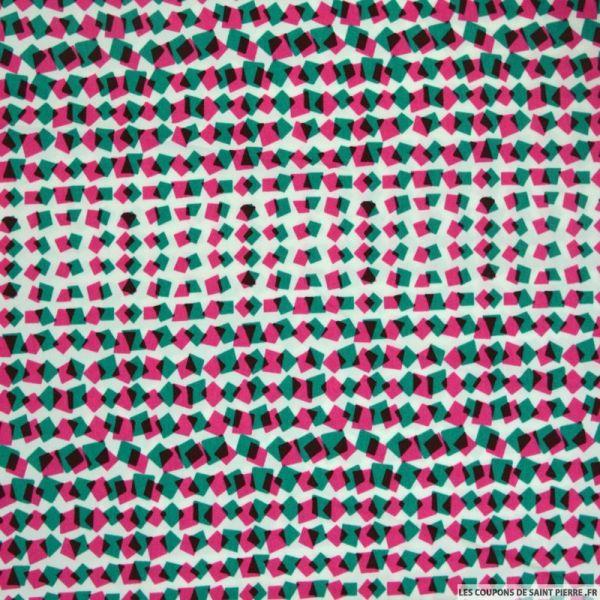 Crêpe polyester lourd imprimé confetti vert et rose