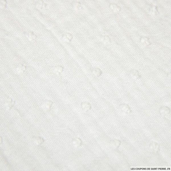Double gaze plumetis blanc