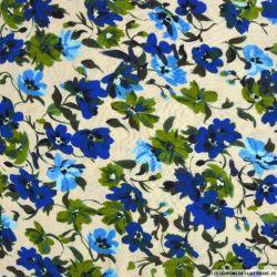 Double gaze imprimé romance fleurs bleu roi