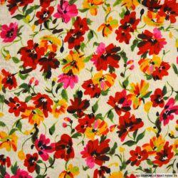 Double gaze imprimé romance fleurs rose