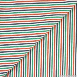 Coton rayé vert rouge bleu