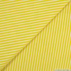 Coton rayé lurex jaune et blanc