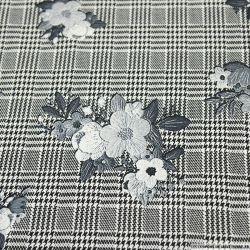 Crêpe polyester élasthanne fleurs vintage fond Prince de Galles
