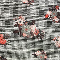 Crêpe polyester élasthanne fleurs vintage rouge fond Prince de Galles