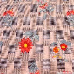 Crêpe polyester élasthanne soliflore fond pied de poule rose