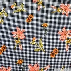 Crêpe polyester élasthanne bouquet volant fond vichy marine