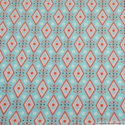 Crêpe polyester imprimé losange graphique azurin