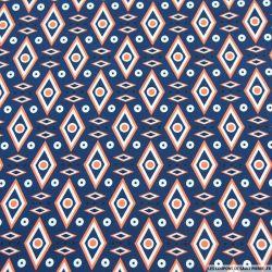 Crêpe polyester imprimé losange graphique marine
