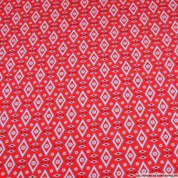Crêpe polyester imprimé losange graphique rose fraise