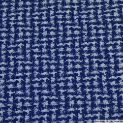 Jersey jacquard labyrinthe graphique bleu