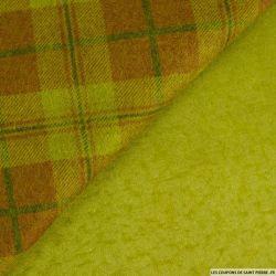 Laine à carreaux terracotta et vert fond kaki