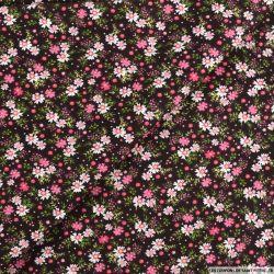 Coton imprimé soir d'hiver rose fond marron