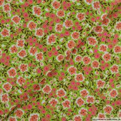 Coton imprimé chamboulement fond vert