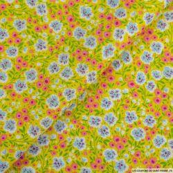 Coton imprimé chamboulement fond jaune