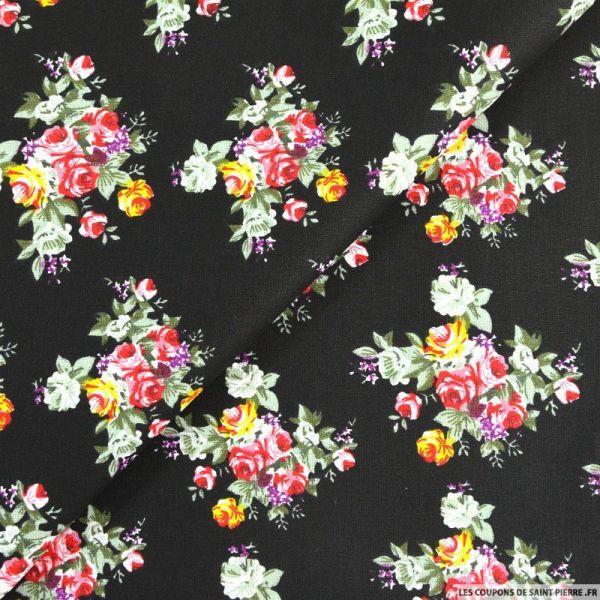 Coton imprimé Bouquet de fleurs fond marine
