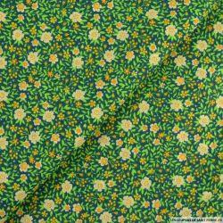 Coton imprimé fort comme une fleur fond canard