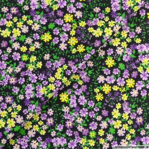 Coton imprimé libérer les fleurs mauve