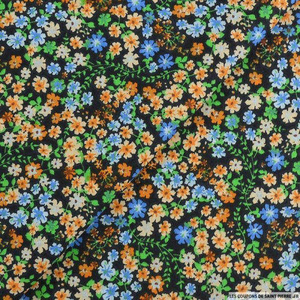 Coton imprimé libérer les fleurs orange fond noir