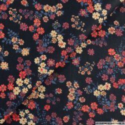 Coton imprimé avec vigueur rouge fond nuit