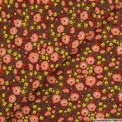 Coton imprimé plein les yeux fond marron