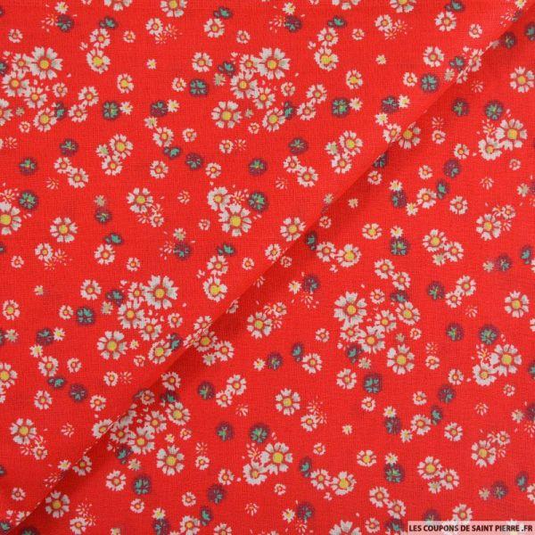 Coton imprimé épuré fond rouge