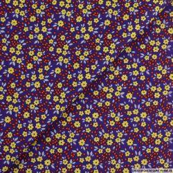 Coton imprimé pensée fleurie fond violet