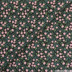 Coton imprimé pensée fleurie fond noir