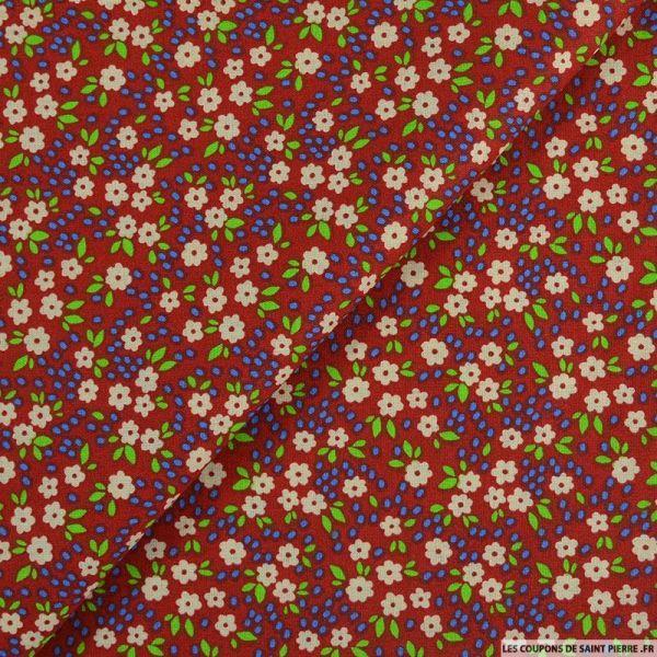 Coton imprimé pensée fleurie fond rouge foncé