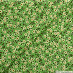 Coton imprimé c'est la récré ! fond vert