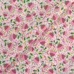 Coton imprimé petit parapluie rose
