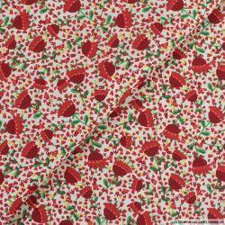 Coton imprimé petit parapluie rouge