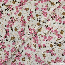 Coton imprimé poème sur rivière rose