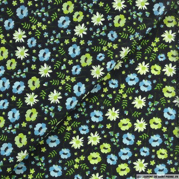 Coton imprimé un vrai valentin bleu fond noir
