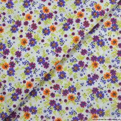 Coton imprimé agir pour la terre fleurs violette